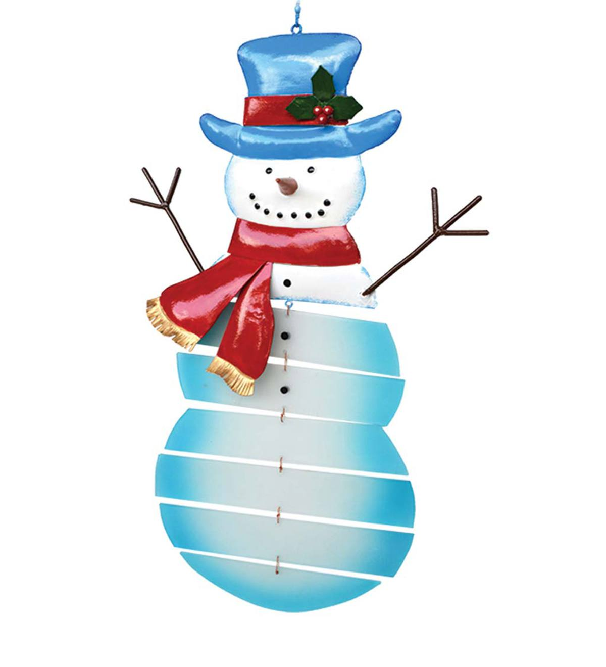 Holiday Glass and Metal Snowman Mobile