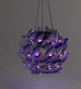 Solar Lighted Purple Butterflies Hanging Metal Orb