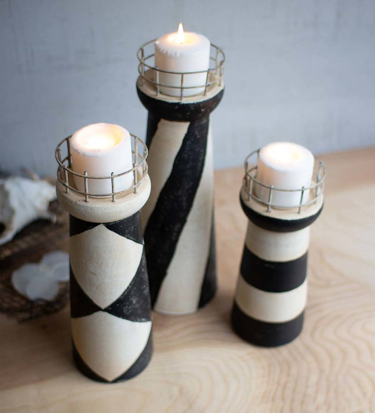 Ceramic Lighthouse Candle Holders, Set of 3
