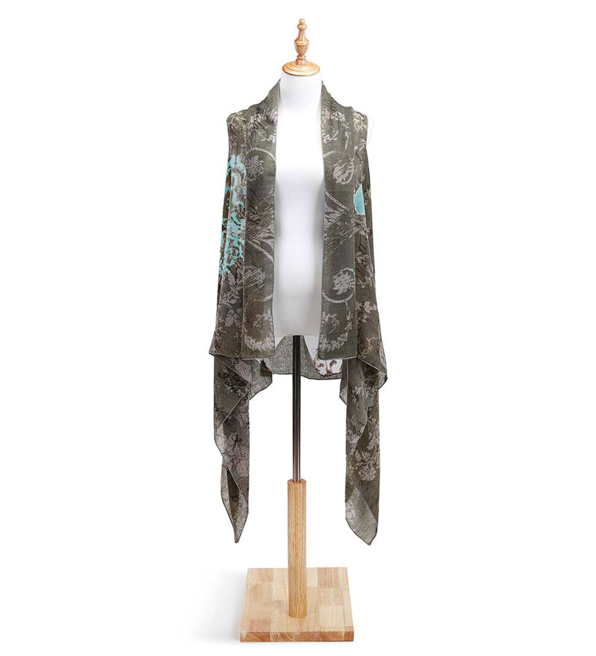 Blue Butterfly on Gray Scarf Vest