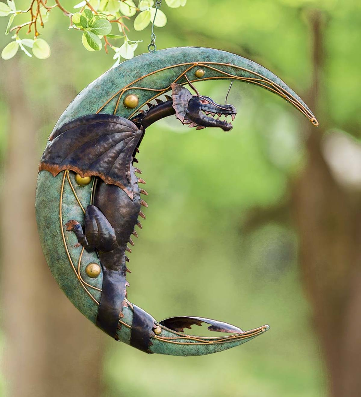 Metal Dragon on Moon Hanging Sculpture