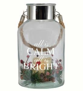 Lighted Holiday Glass Jar Lantern - All is Calm