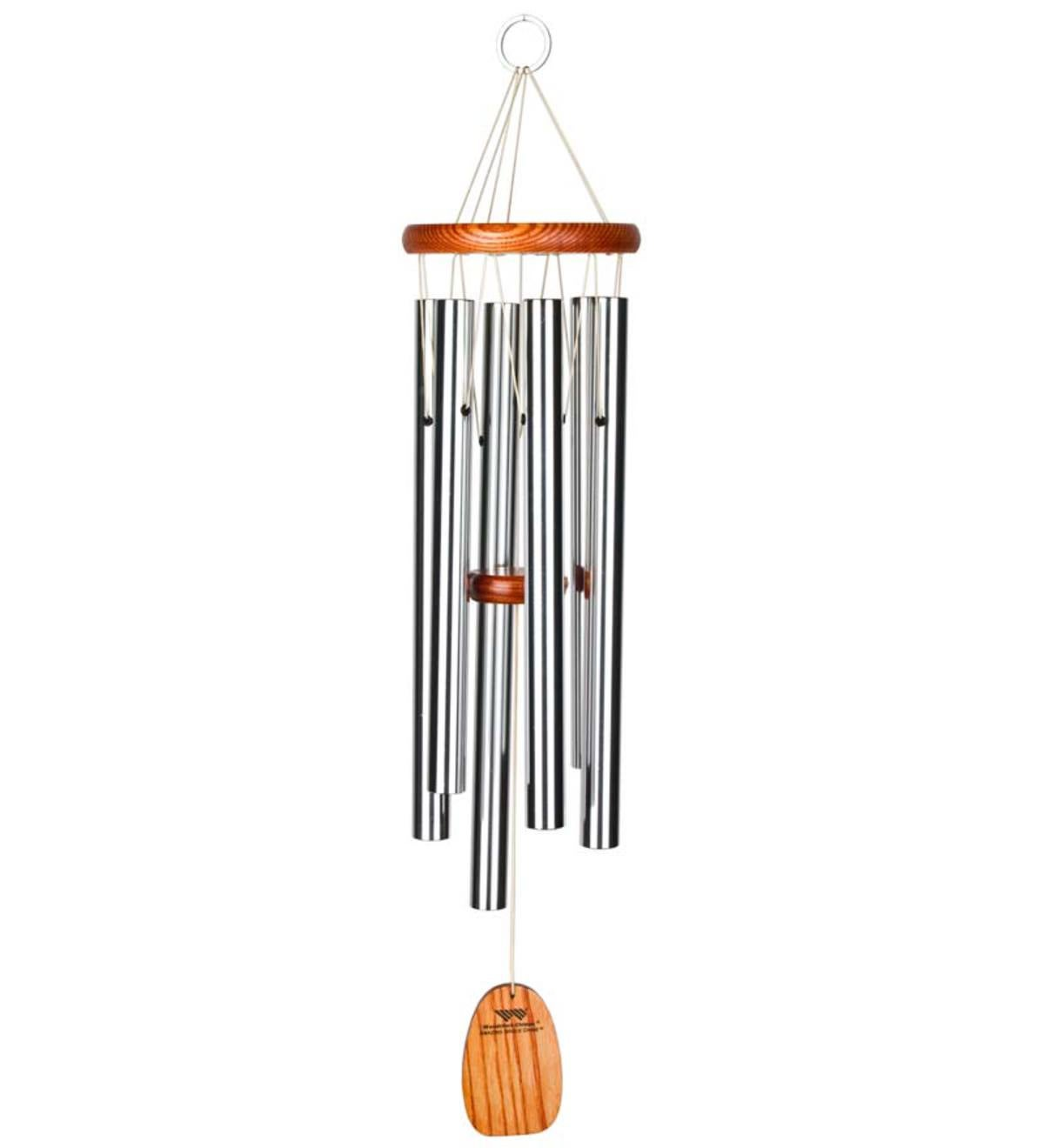 Medium Anodized Aluminum Amazing Grace Wind Chime With Ash Wood Disk And Wind Catcher