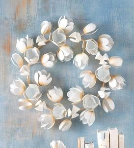 Handcrafted Metal Magnolia Garland Wreath