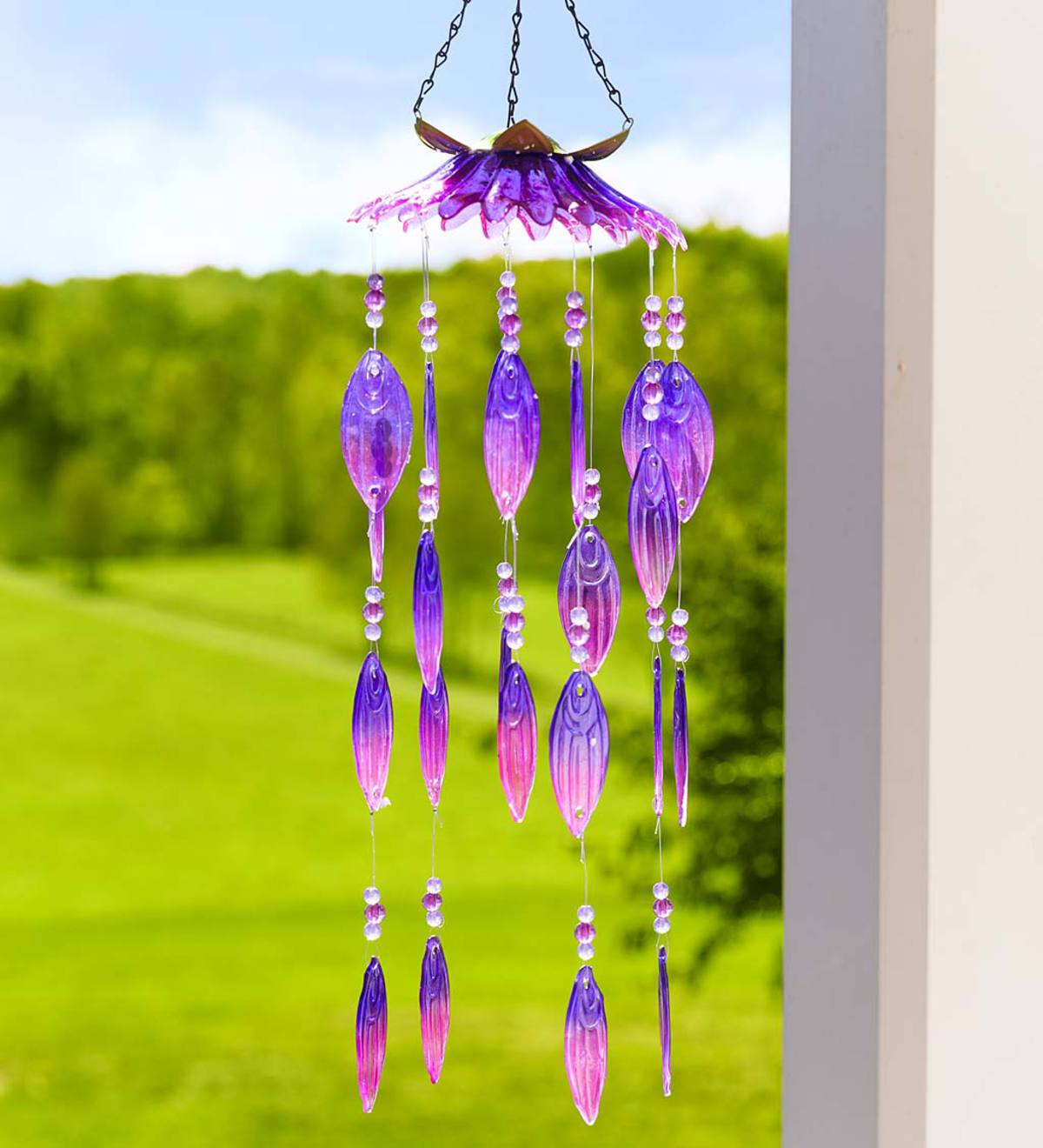 Colorful Glass Flower Petals Wind Chimes - Pink