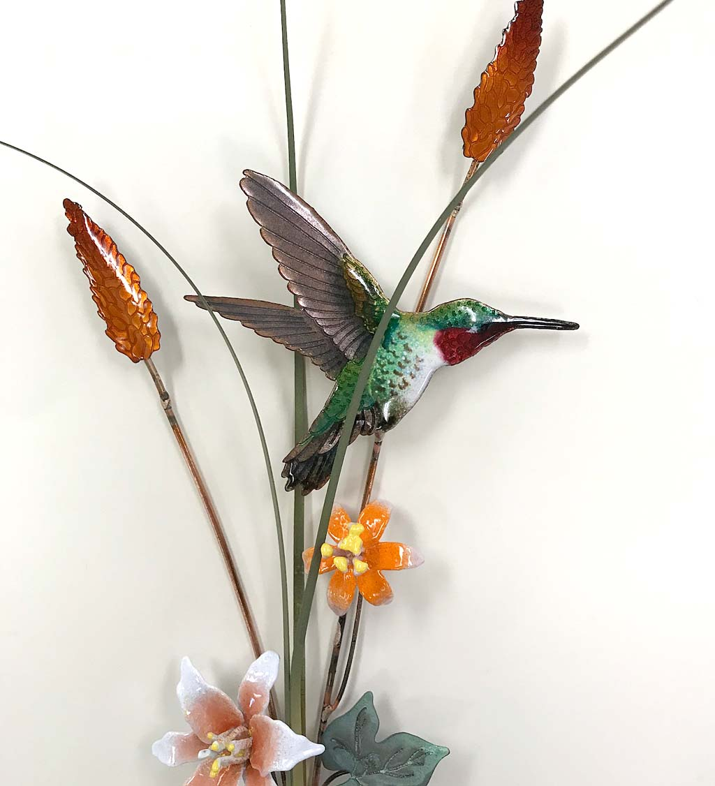 Handcrafted Hummingbird with Lilies Wall Art by Bovano