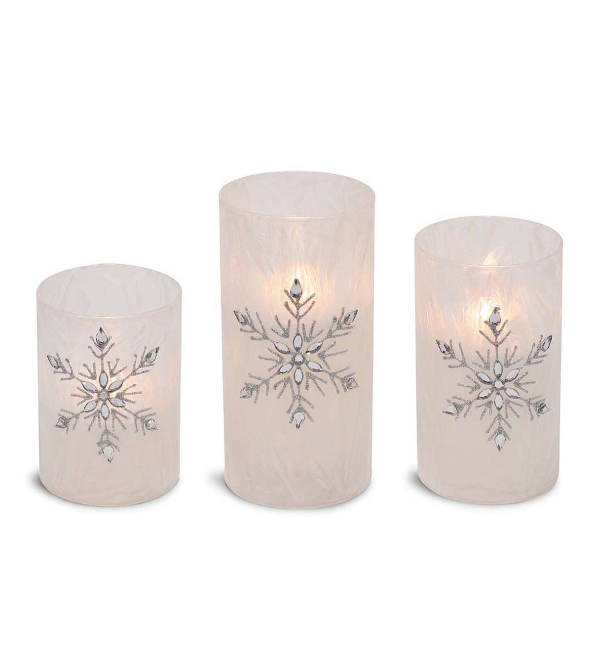Flameless LED Glass Snowflake Candles, Set of 3
