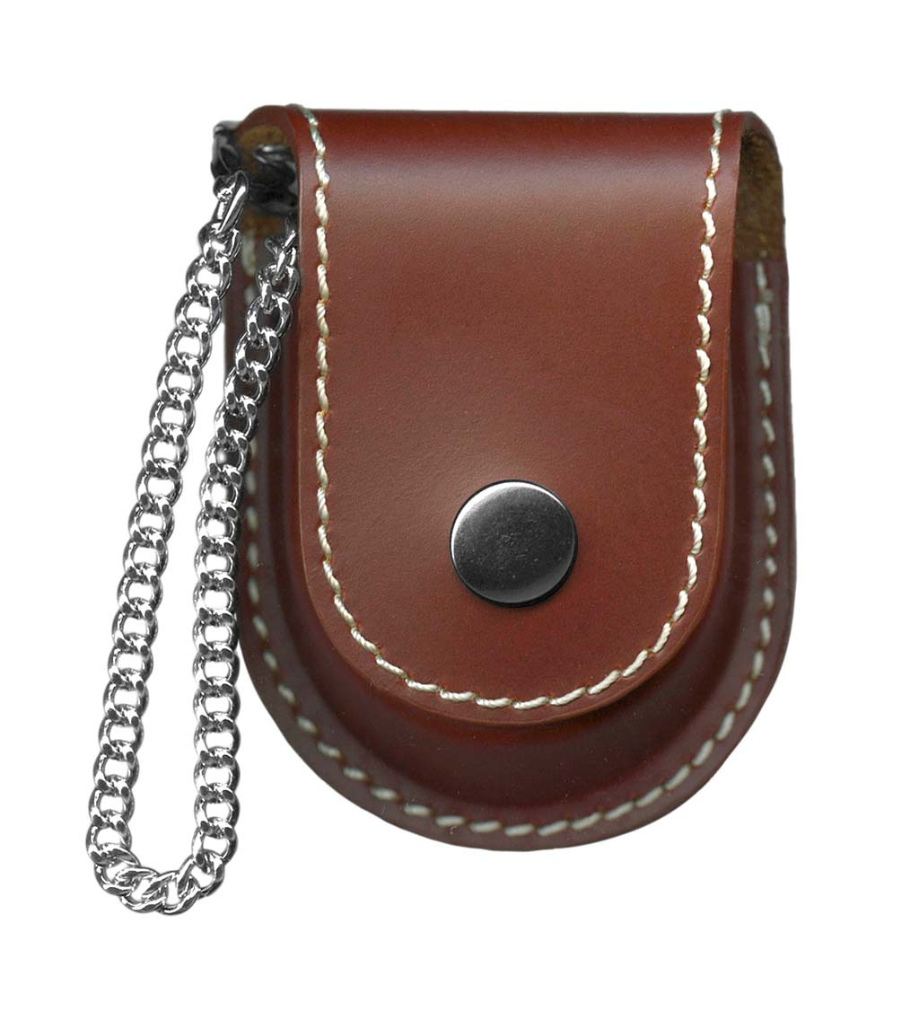 Pocket Watch with Chain, Magnifying Glass and Leather Pouch