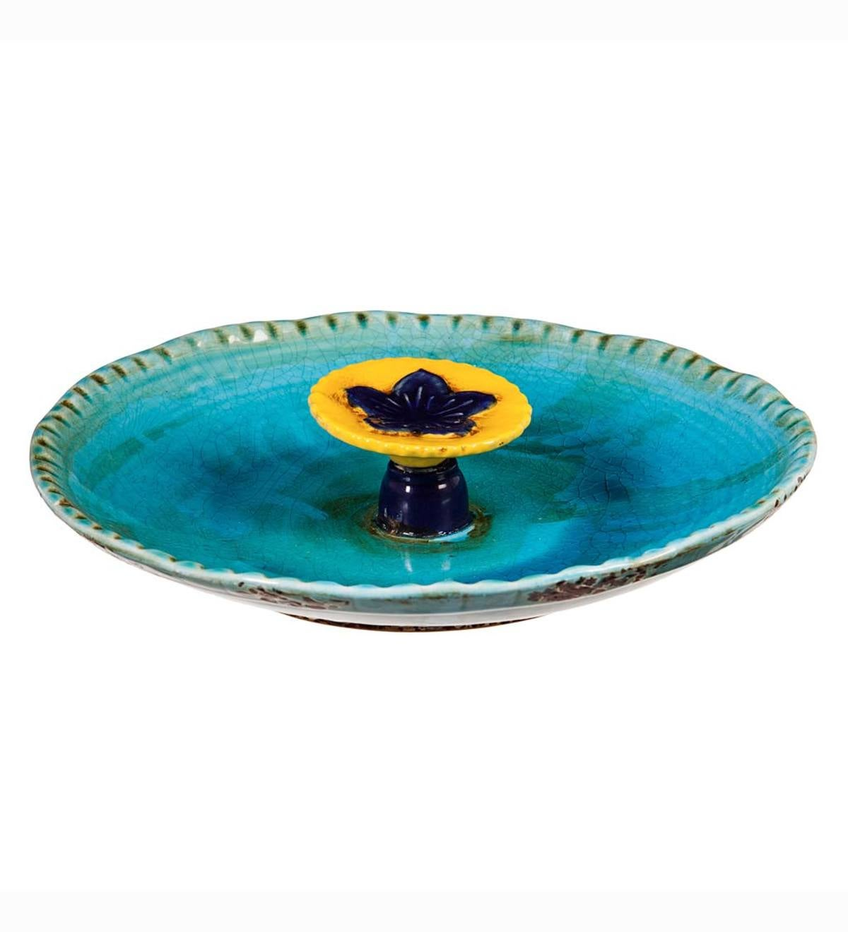 Colored Flower Ceramic Bee Bath - Turquoise