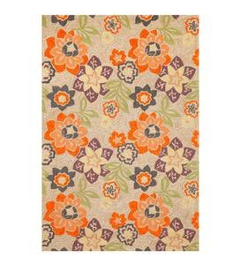 Purple and Orange Floral Accent Rug