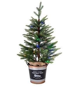 "Lighted 36"" Artificial Spruce Tree in Galvanized Metal Bucket"
