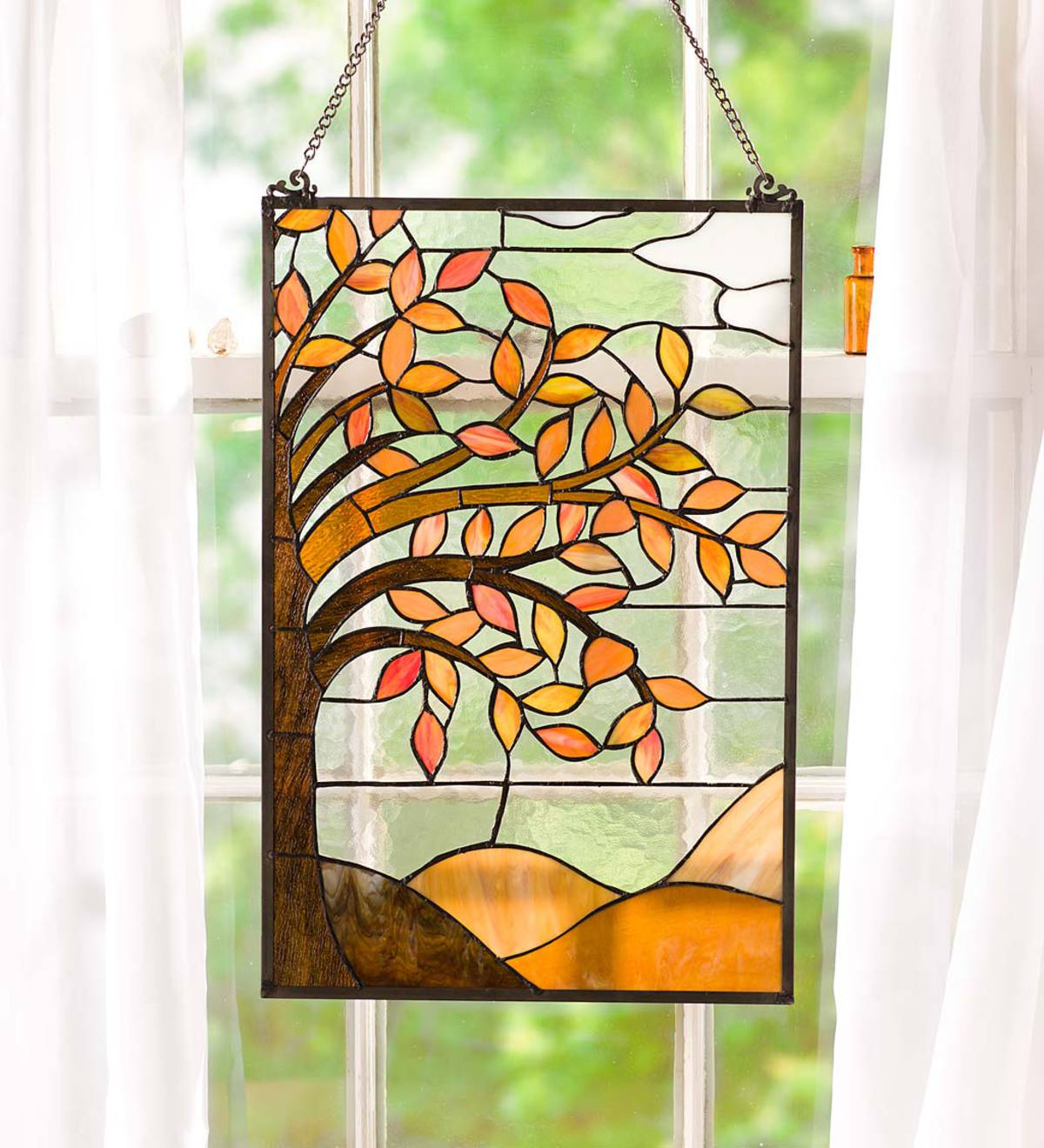 Stained Glass Autumn Tree Panel
