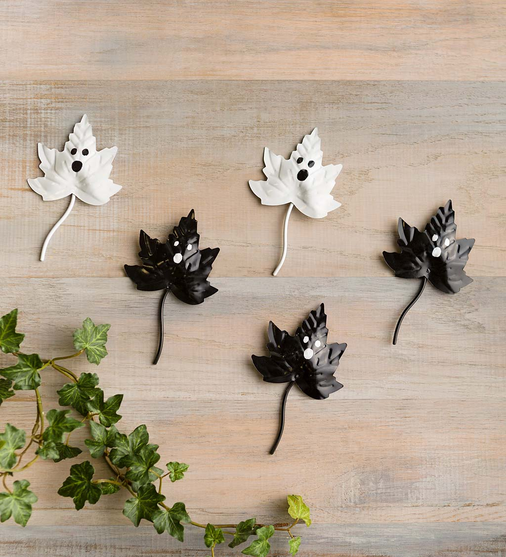 Handcrafted Black and White Metal Leaves with Ghost Faces, Set of 5