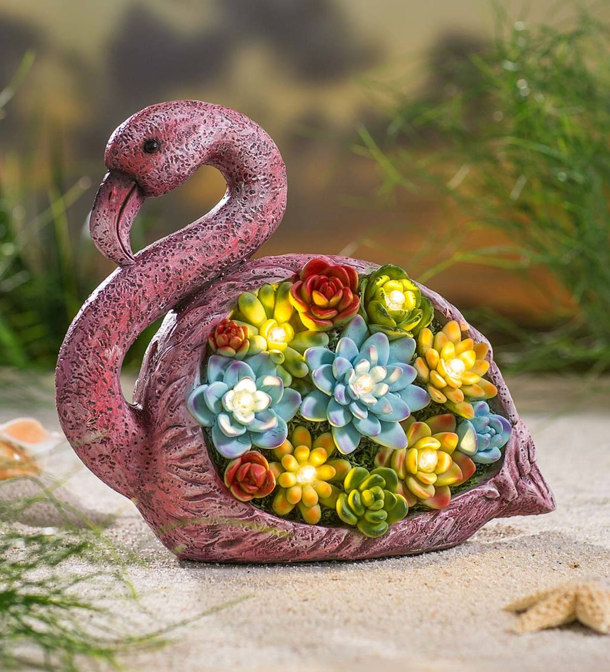 Solar Lighted Flamingo with Faux Succulents