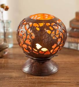 Hand-Carved Coconut Shell Candleholder