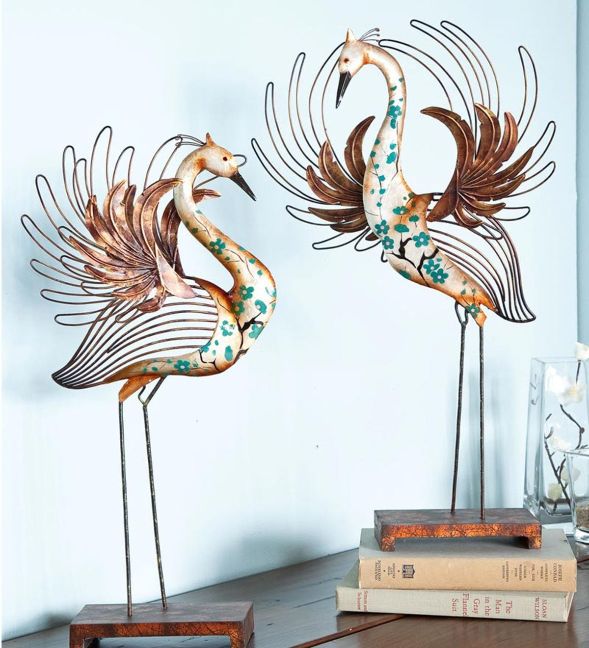 Heron Capiz Tabletop Sculpture Pair