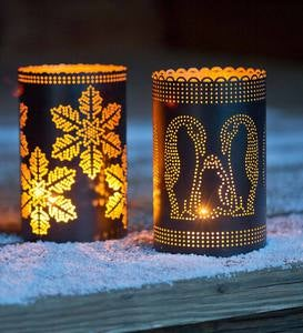 Punched Tin Votive Holders - Penguin Family