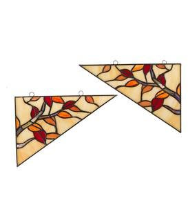 Stained Glass Maple Leaf Corner Accents, Set of 2