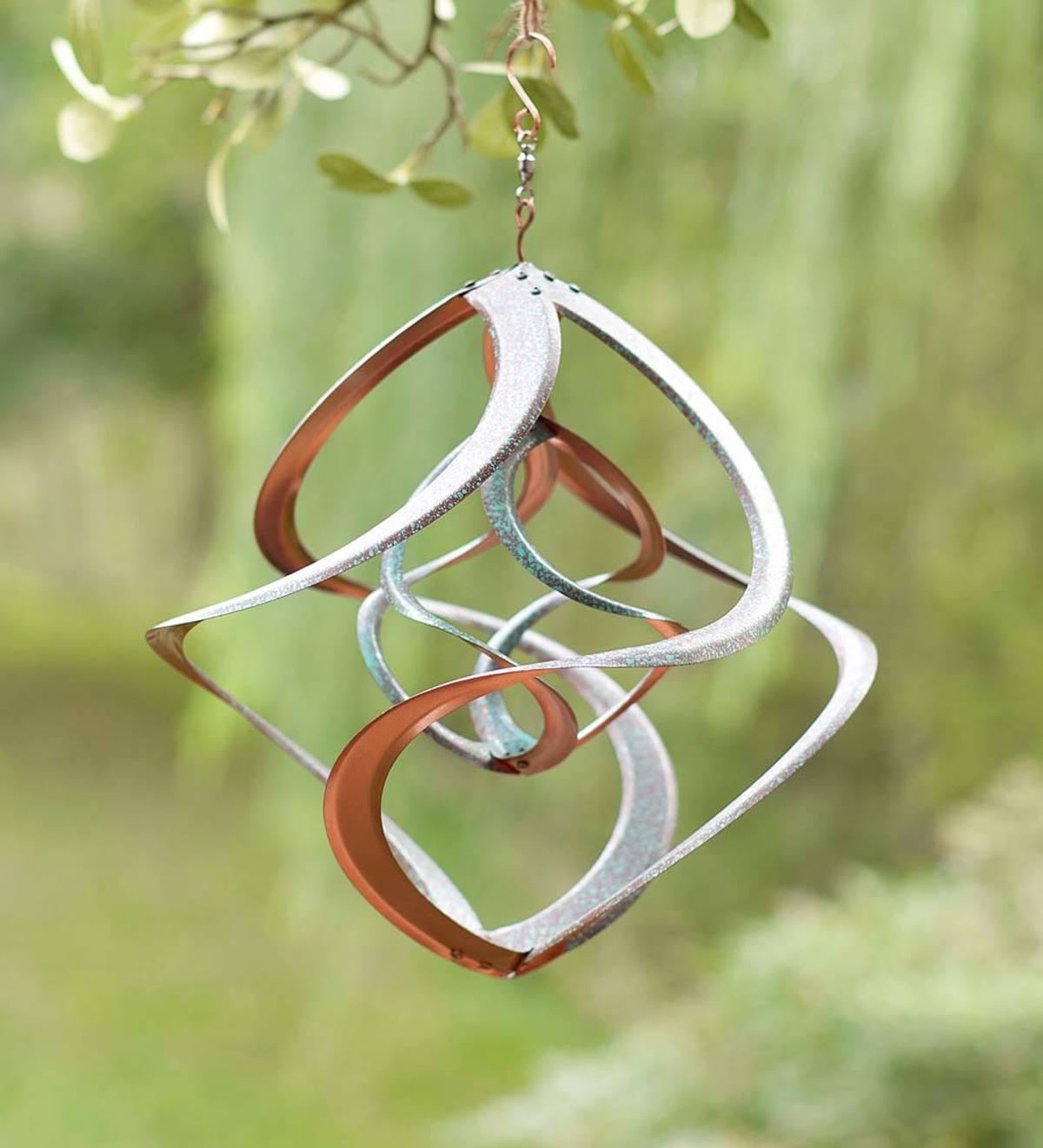 Copper-Colored and Patina Dual Spiral Hanging Metal Wind Spinner