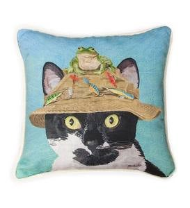 Fisherman Cat with Frog Throw Pillow