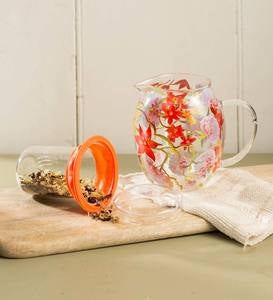 27 oz. Glass Teapot with Floral Design