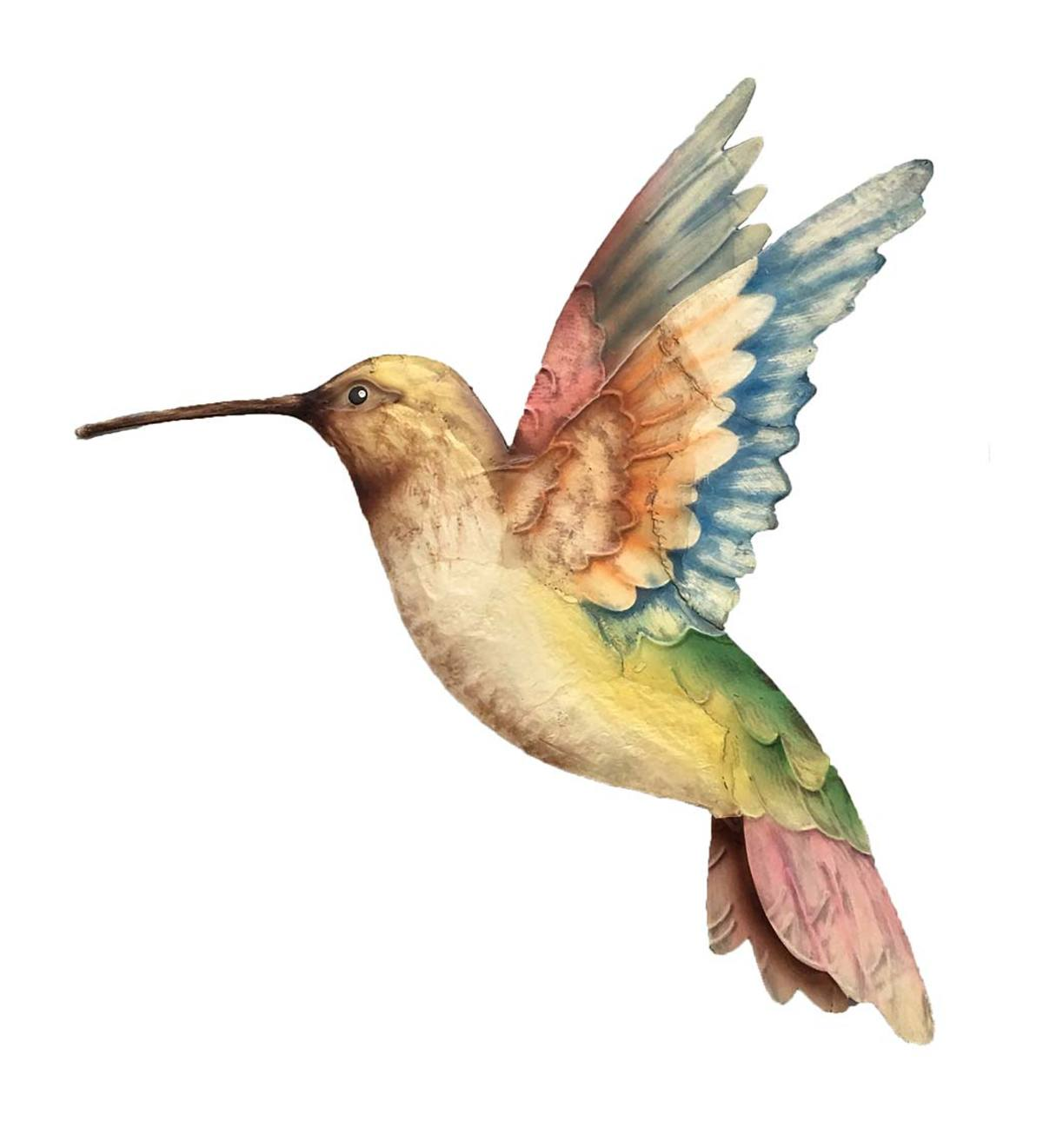 Hand-Painted Metal and Capiz Hummingbird Wall Art