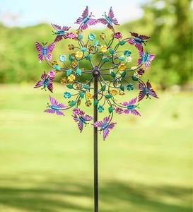Colorful Metal Butterfly Wind Spinner