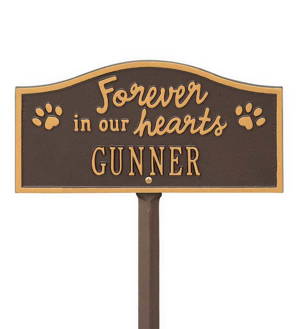 Forever In Our Hearts Customizable Metal Pet Memorial Marker Stake - Bronze