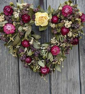 Heart-Shaped Dried Myrtle and Flower Wreath