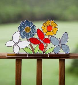 Stained Glass Flowers and Butterflies Railing Topper