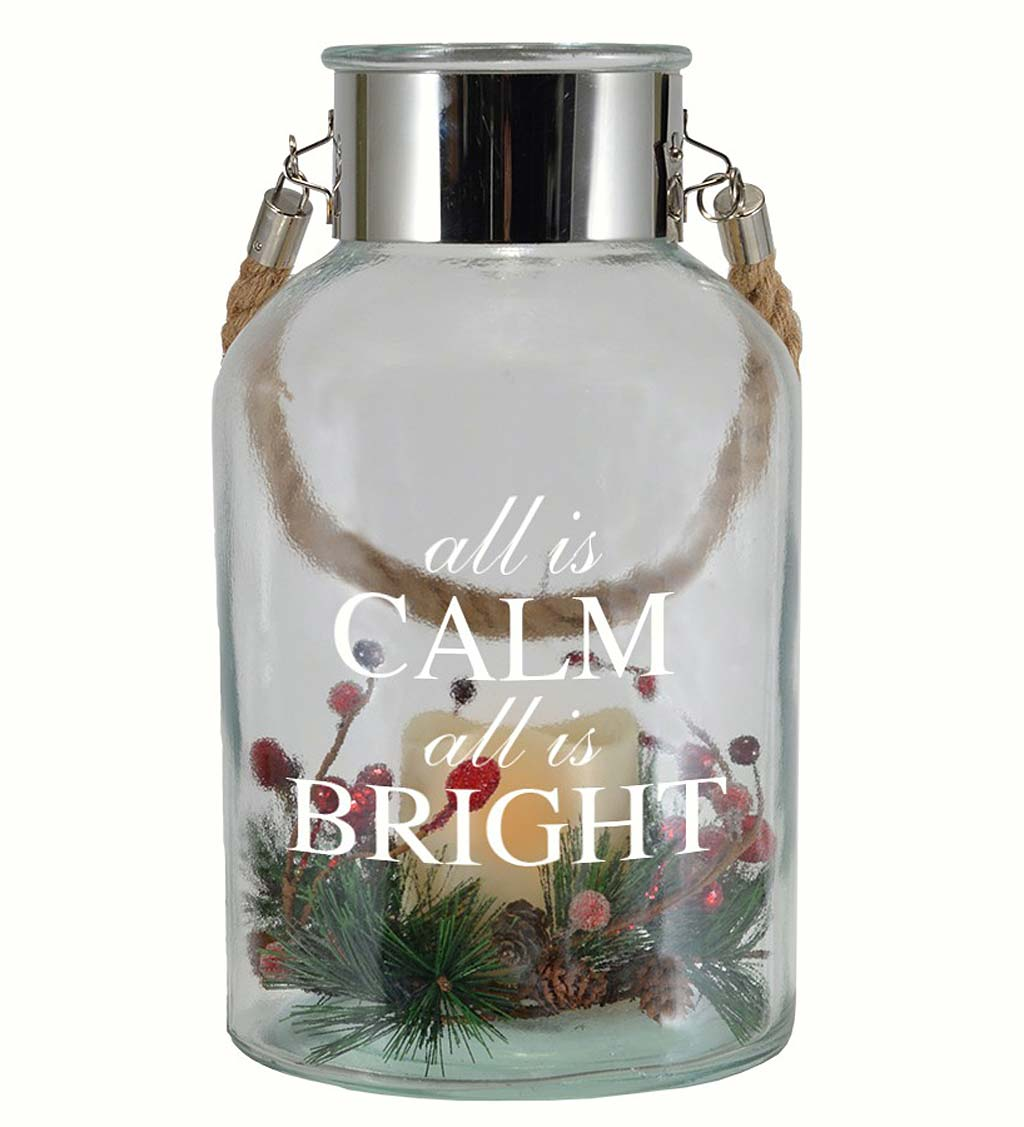 Lighted Holiday Glass Jar Lantern