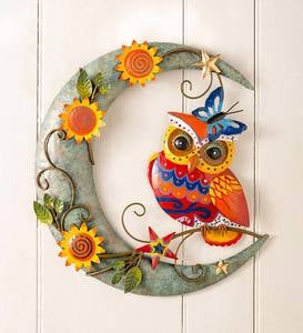 Handcrafted Colorful Owl on Moon Metal Wall Art
