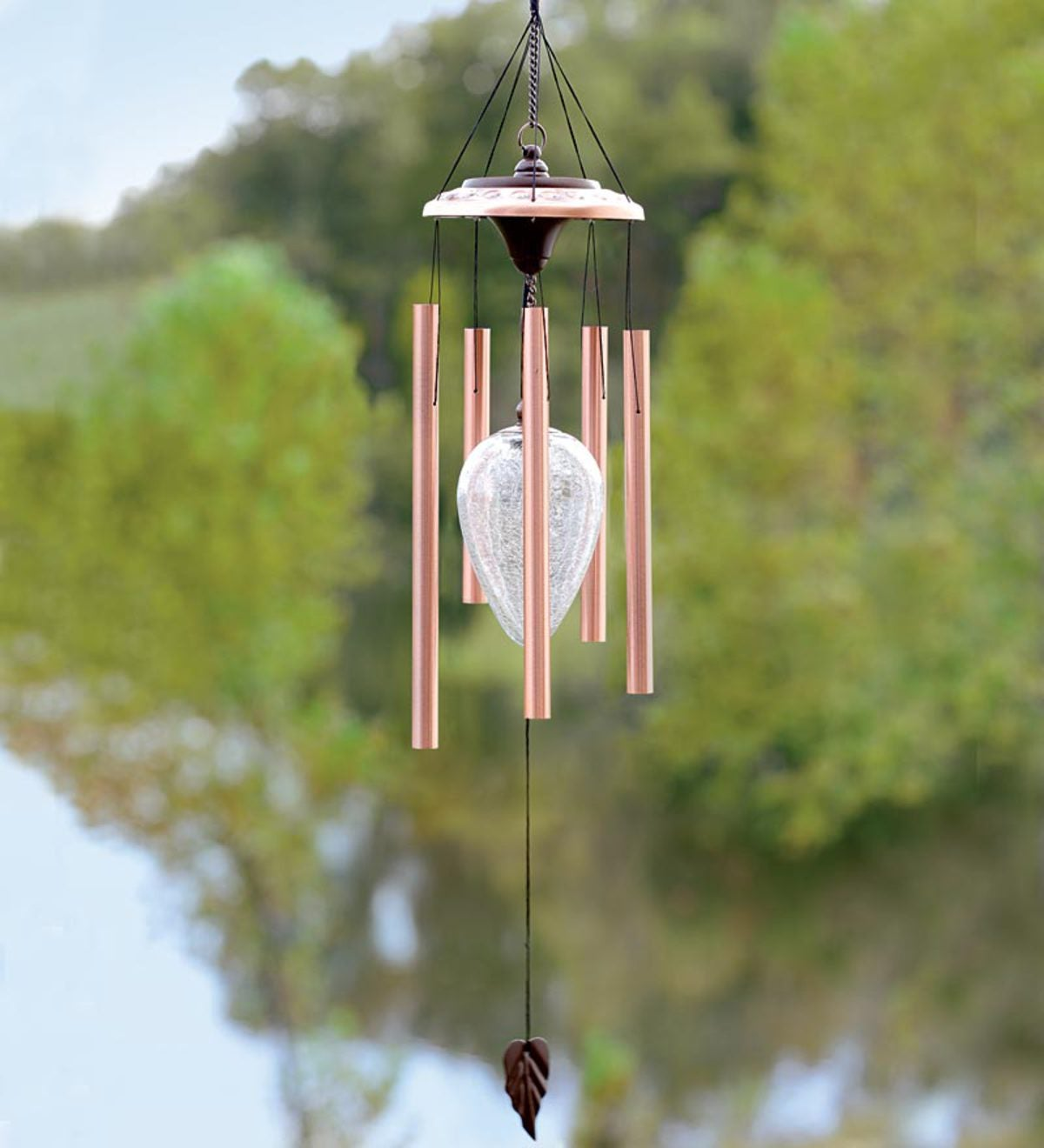 Copper Solar Color-Changing Wind Chime | Wind and Weather