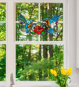 Colorful Stained Glass Hummingbird Pair Window Panel