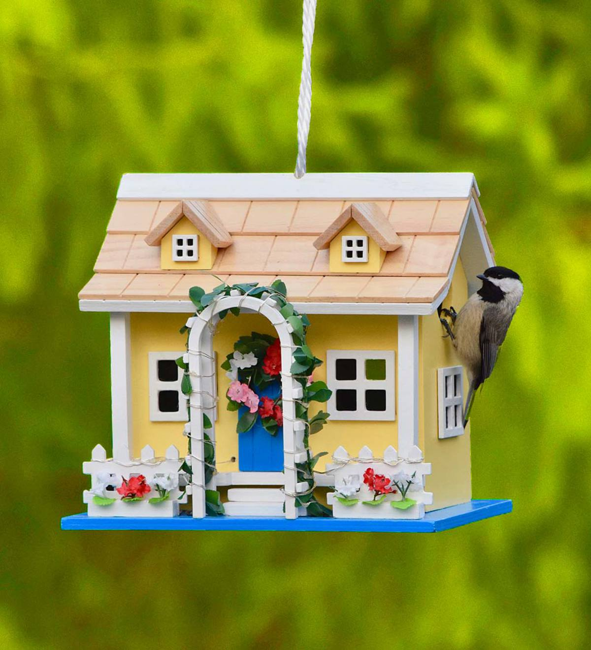 Somerset Lighted Yellow Cottage Birdhouse