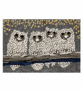 "Large Night Owls Indoor/Outdoor Accent Rug - 30"" x 48"""