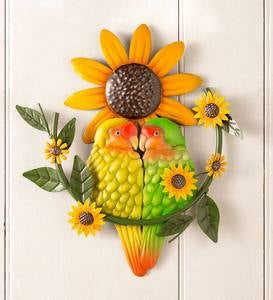 Handcrafted Colorful Metal Lovebirds Wall Art
