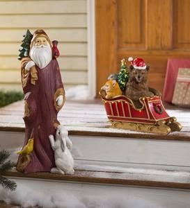 Woodlike Santa with Bunny Holiday Statue