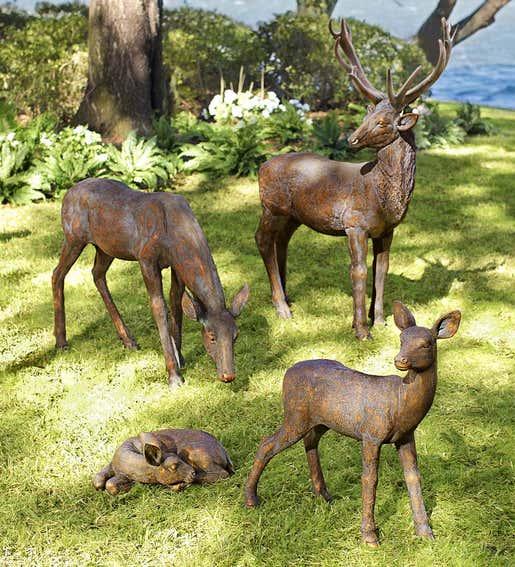Image of Buck & Doe Statues