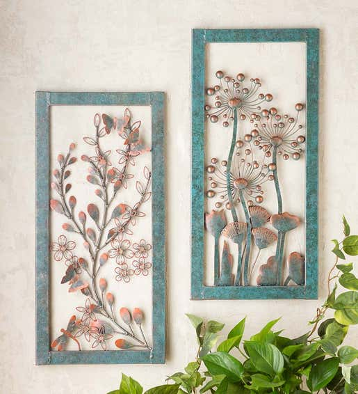 Image of Handcrafted Metal Wall Art with Copper-Colored and Patina-Like Finishes