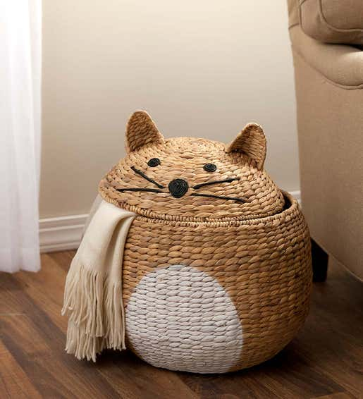 Image of woven wicker storage basket in the shape of a cat. Shop Best Selling Gifts