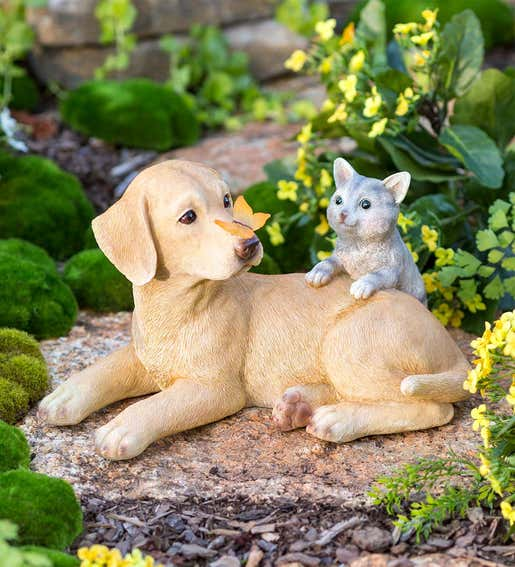 Image of a garden statue with a kitten, dog and butterfly. Shop Gifts for Cat & Dog Lovers