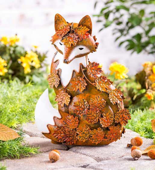 Metal Fall Leaves Fox. Garden Statues