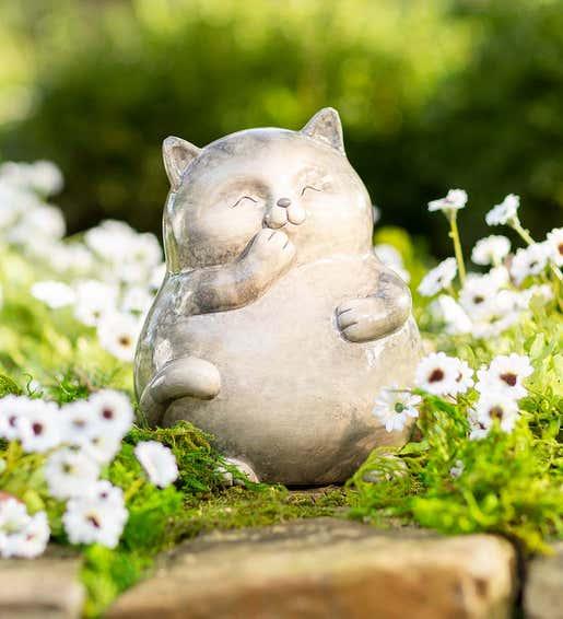 Smiling Ceramic Kitten. Garden Statues