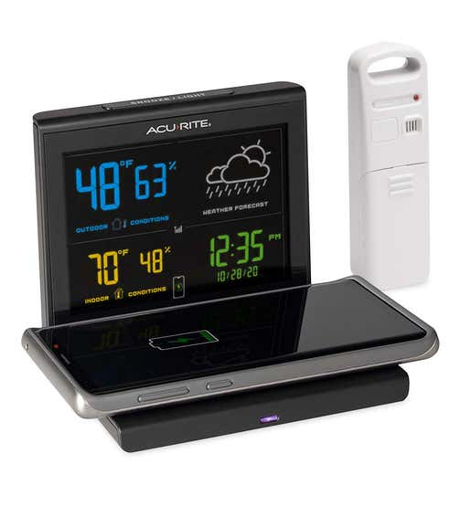 Image of an Acurite Weather Forecaster with a Qi cellphone charging pag. Shop Gifts For Gadget Lovers