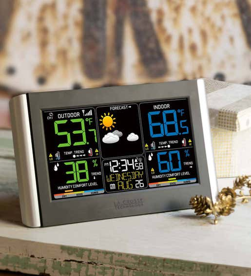 Image of Horizontal Color Display Full-Function Weather Station with Wireless Remote Sensor