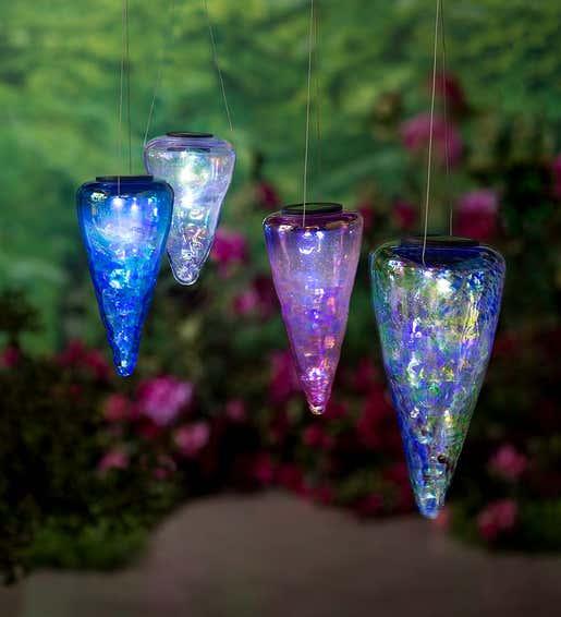 Blown Glass Solar Hanging Lights. Solar Garden Accents