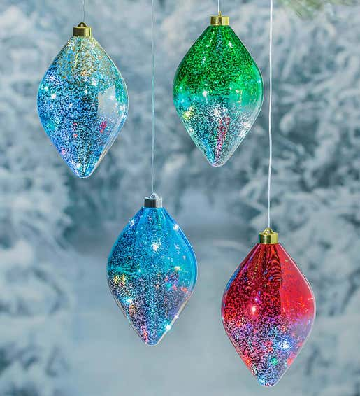 Image of outdoor lighted shatterproof ornaments. Shop Trees & Ornaments