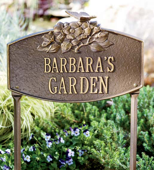 Image of a personalized brass garden plaque. Shop Personalized Gifts